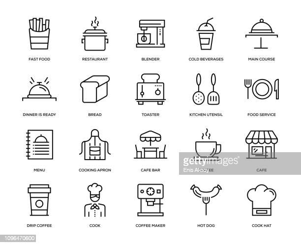 cafe icon set - restaurant stock illustrations