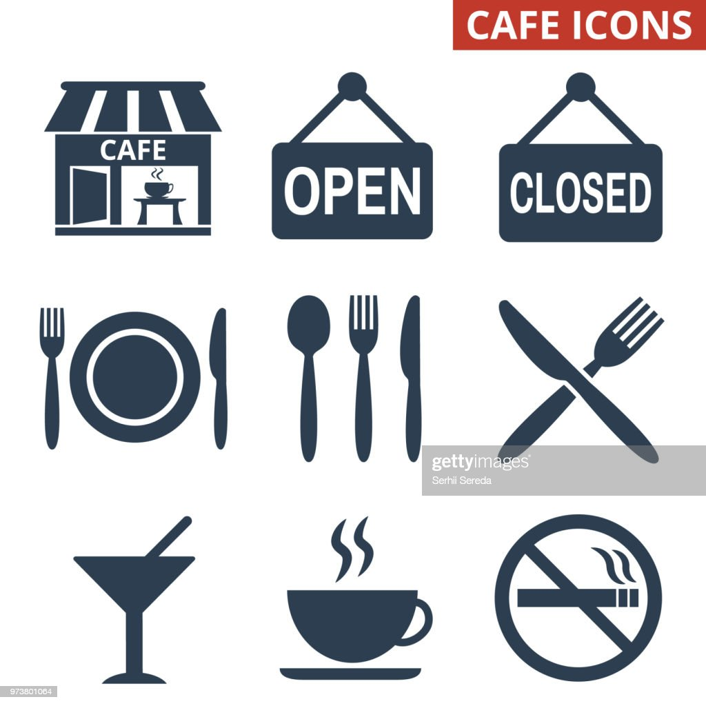 Cafe icons set on white background.