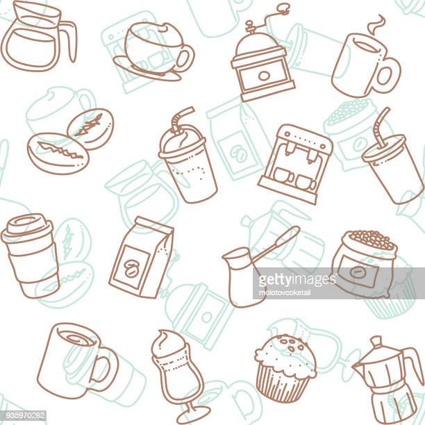 cafe line art icon seamless wallpaper pattern