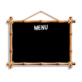Cafe Menu Board With Bamboo Frame. Isolated On White Background. Realistic Black Empty Signboard Chalkboard Hanging. Vector Illustration