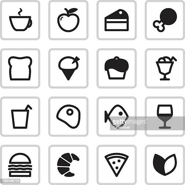cafe menu icons | black - chicken pie stock illustrations, clip art, cartoons, & icons