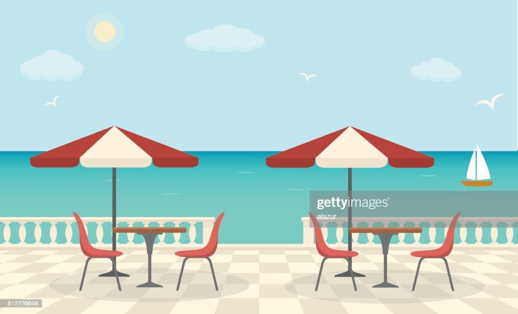 Cafe on the terrace near the sea.