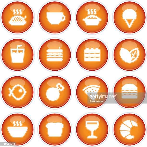 cafe & restaurant menu icons | 3d - meat pie stock illustrations, clip art, cartoons, & icons