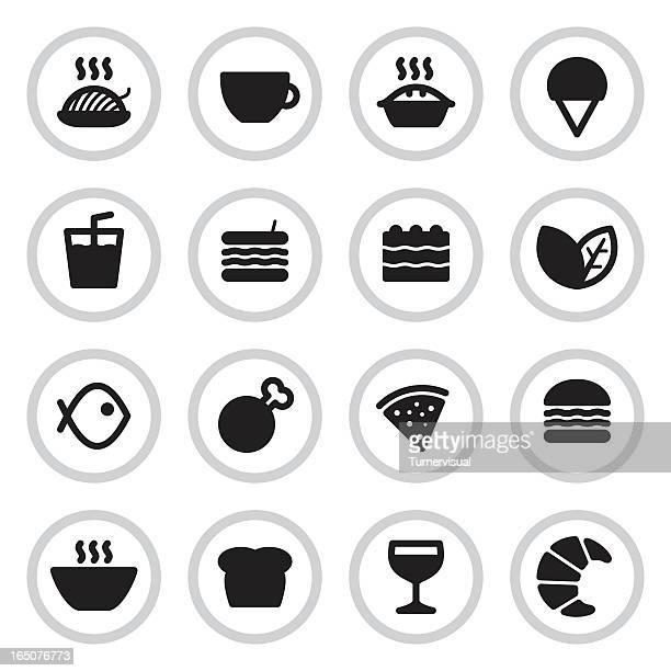 cafe & restaurant menu icons | black - meat pie stock illustrations, clip art, cartoons, & icons