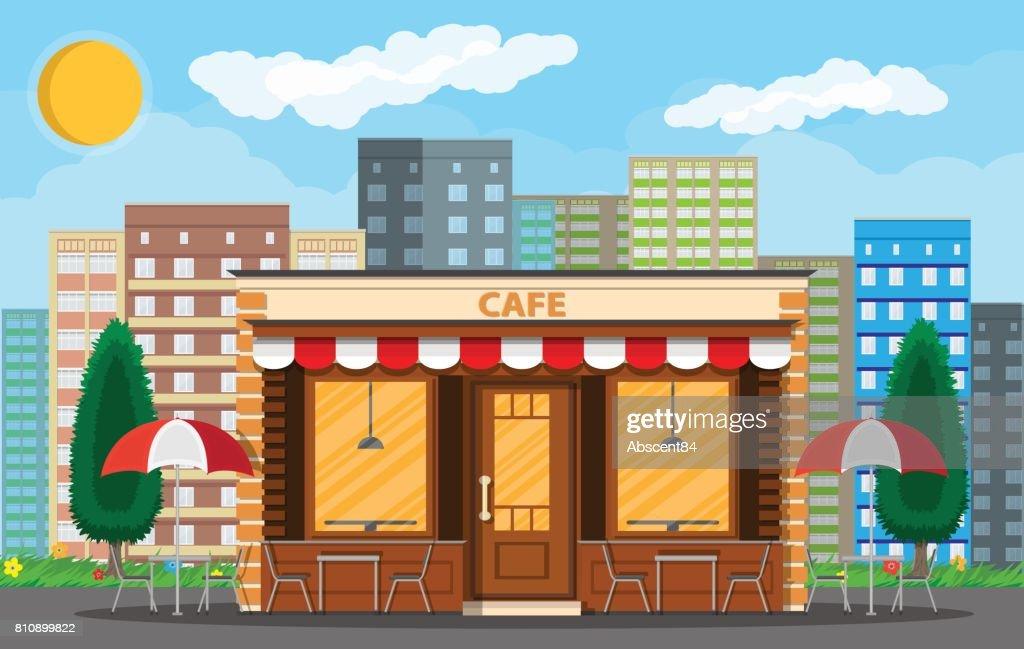 Cafe shop exterior. Cityscape