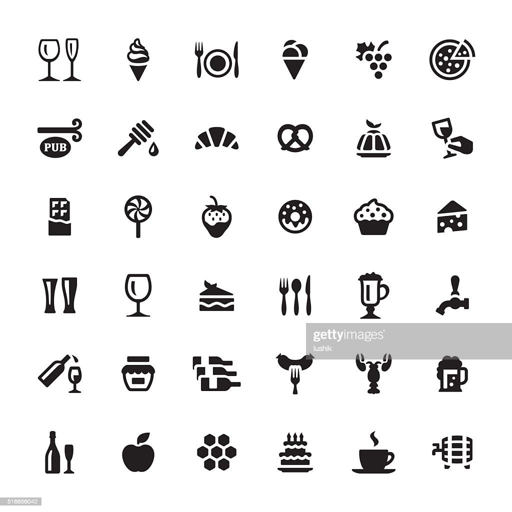 Cafe & snacks vector symbols and icons : stock illustration