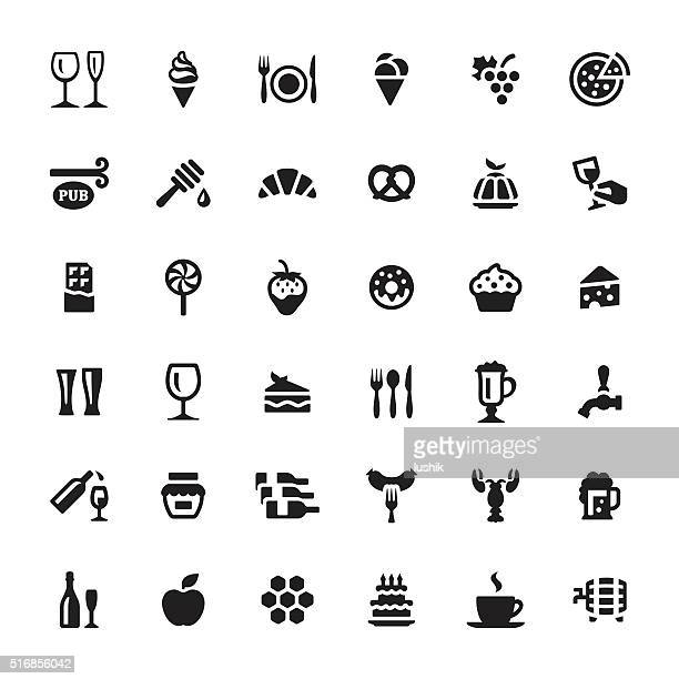 cafe & snacks vector symbols and icons - donut stock illustrations, clip art, cartoons, & icons