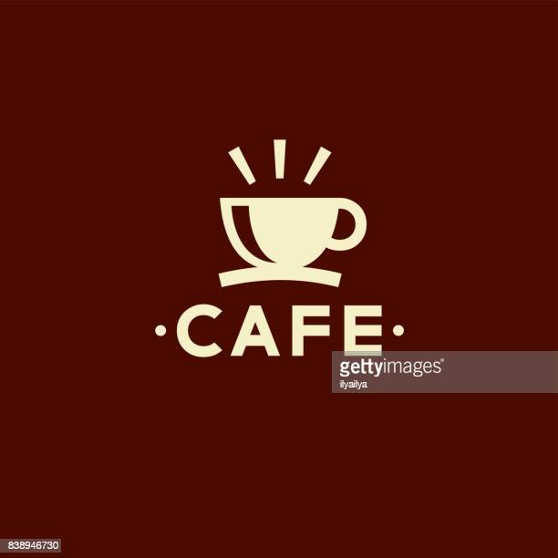 cafe vector emblem. cup of coffee icon - cafe stock illustrations