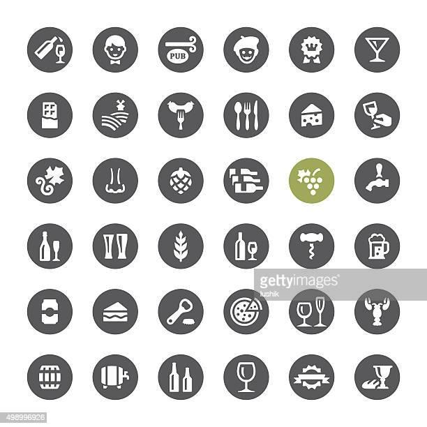 Cafe, Weingut und Bier zugehörige Vektor-icons