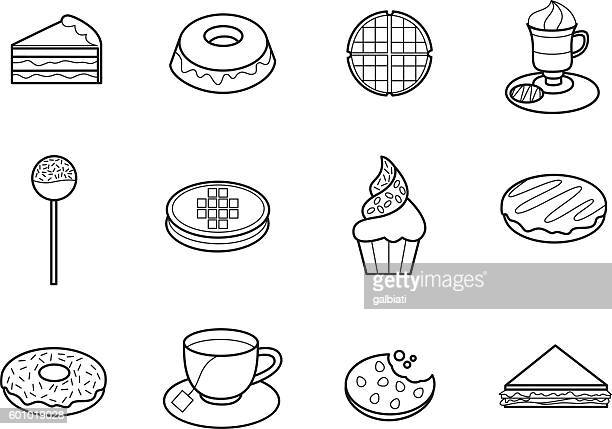 cafeteria 3 - waffle stock illustrations, clip art, cartoons, & icons