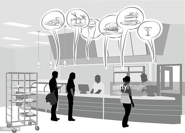 cafeteria bubbles - ordering stock illustrations, clip art, cartoons, & icons