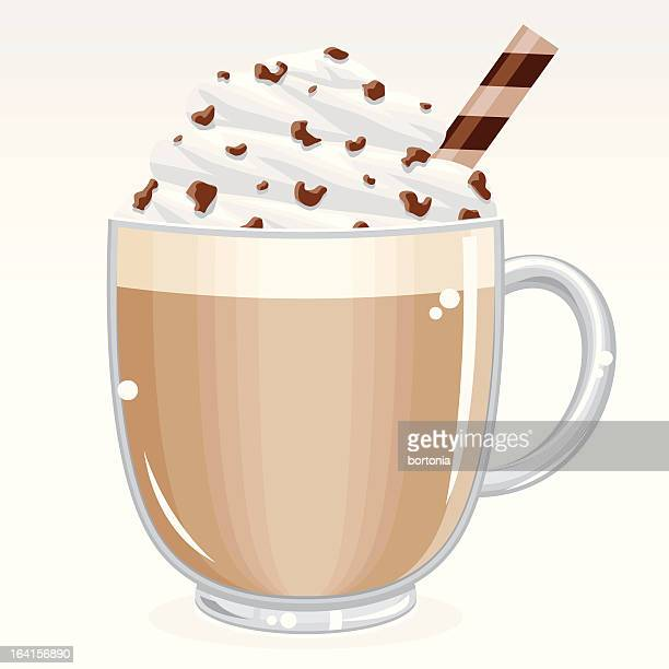 caffè latte - whipped cream stock illustrations, clip art, cartoons, & icons