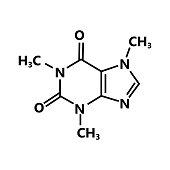 caffeine chemical formula vector sign
