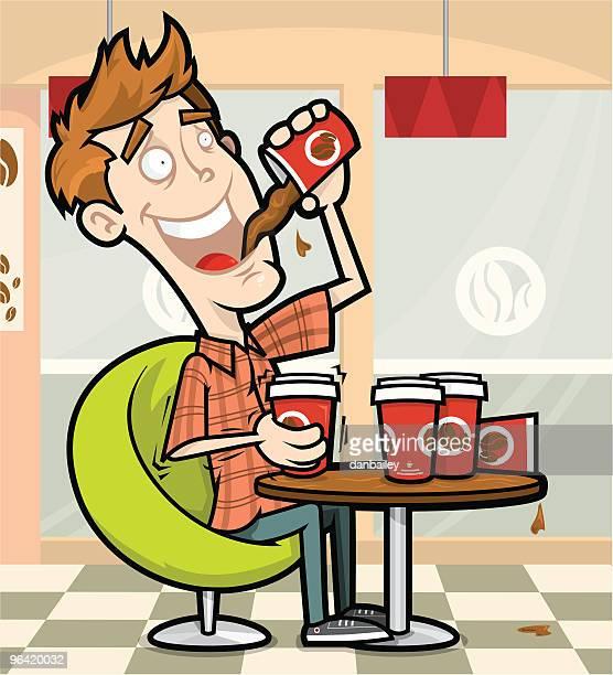 caffeine fix - unhealthy living stock illustrations, clip art, cartoons, & icons