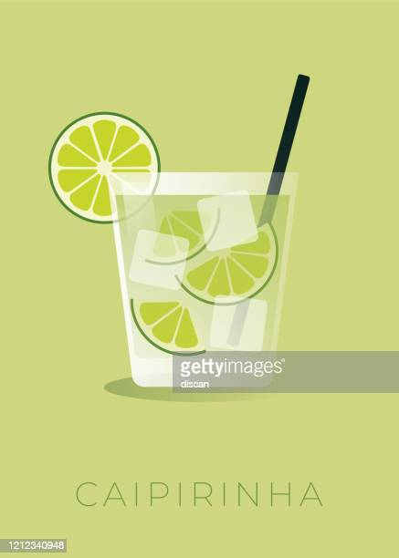 bildbanksillustrationer, clip art samt tecknat material och ikoner med caipirinha cocktail med limekil. arkivbild. - starksprit