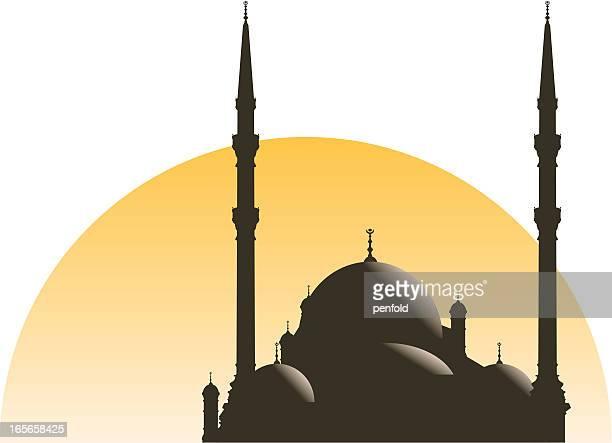 cairo mosque - minaret stock illustrations