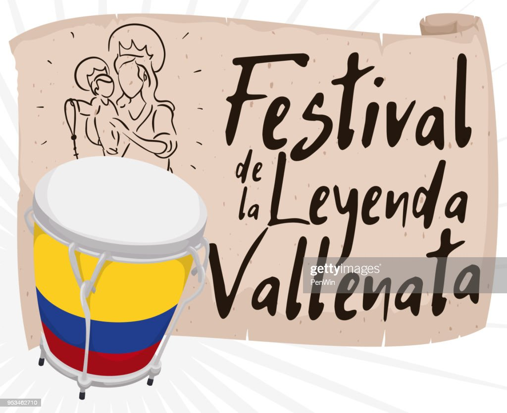 Caja and Scroll with Religious Draw Promoting Vallenato Legend Festival