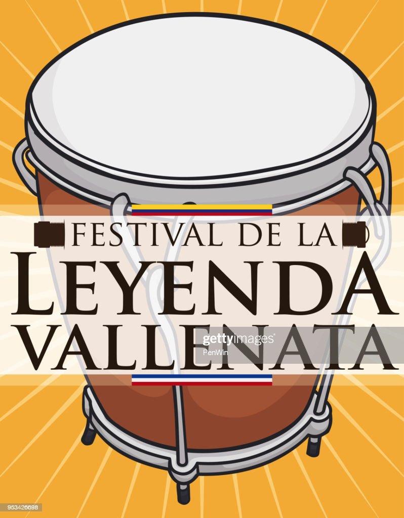 Caja Vallenata Drum Instrument with Label for Vallenato Legend Festival