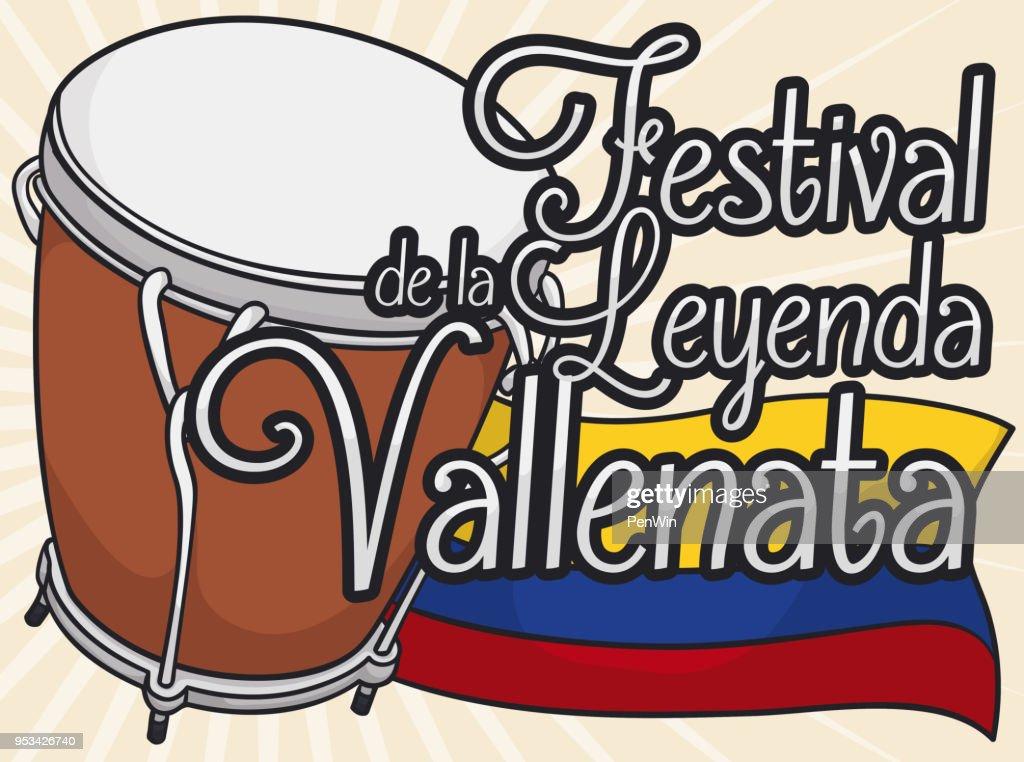 Caja Vallenata Drum with Colombian Flag for Vallenato Legend Festival