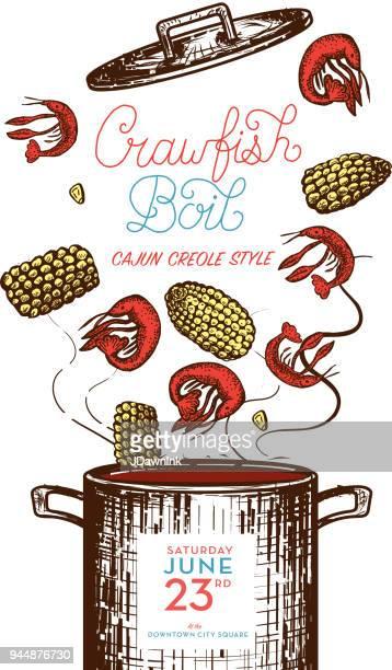 cajun creole crawfish boil invitation design template - cajun food stock illustrations