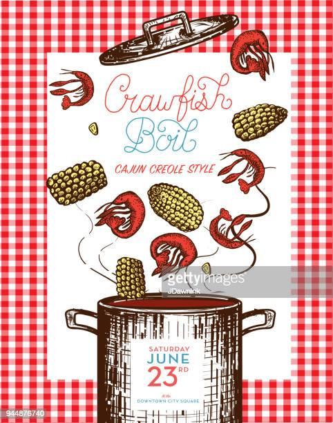 cajun creole crawfish boil invitation design template - crayfish seafood stock illustrations