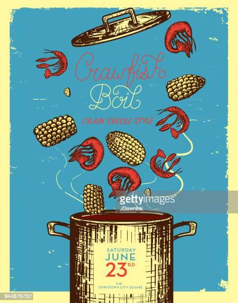 cajun creole crawfish boil invitation design template - boiling stock illustrations