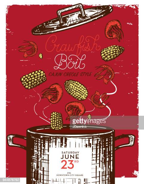 cajun creole crawfish boil invitation design template - southern usa stock illustrations, clip art, cartoons, & icons