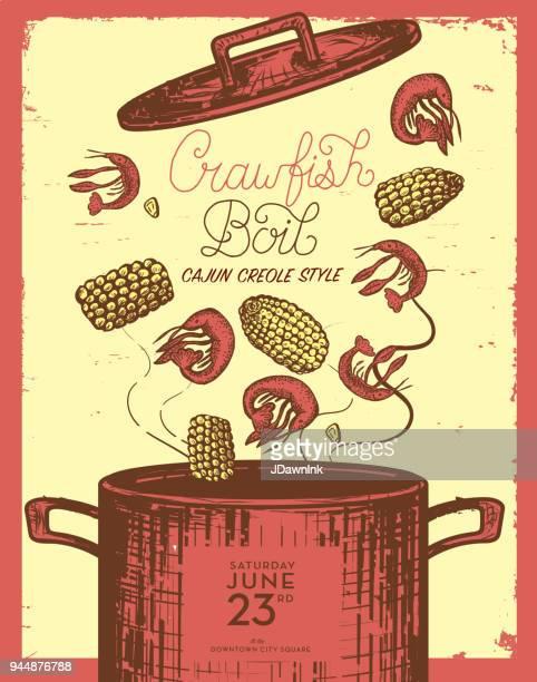 Cajun Creole languster koka inbjudan formgivningsmall