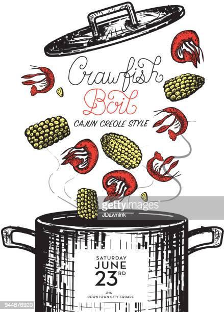cajun creole crawfish boil invitation design template - creole culture stock illustrations
