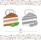 Cake. A piece of cake. Vector color and black & white image.