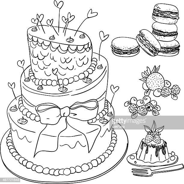 cake and dessert collection - macaroon stock illustrations, clip art, cartoons, & icons