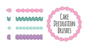 Cake and dessert seamless decoration brushes.