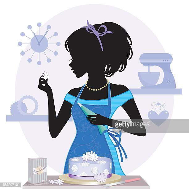 cake baking girl silhouette - making a cake stock illustrations, clip art, cartoons, & icons