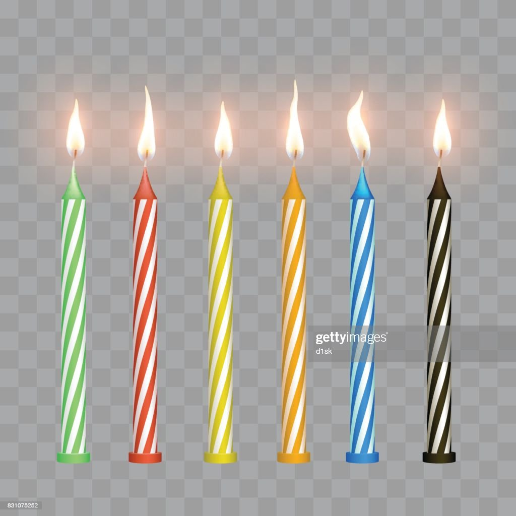 Cake candles with flame