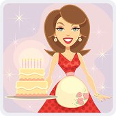 Cake Celebration (Brunette Lady)