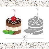 Cake decorated with icing. Vector color and black & white image.