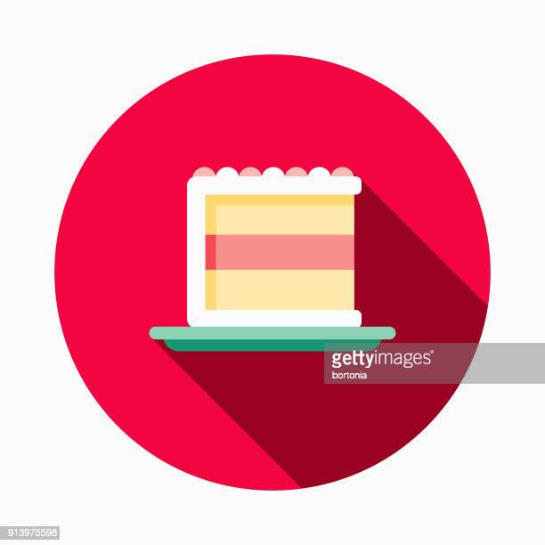 cake flat design fast food icon - dessert topping stock illustrations, clip art, cartoons, & icons