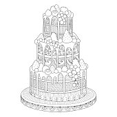 Cake for coloring book