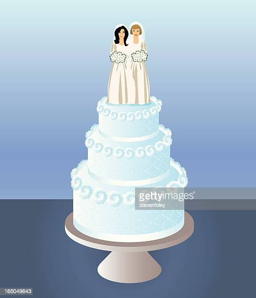 cake for two brides - gay stock illustrations, clip art, cartoons, & icons