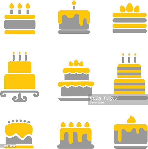 cake icons - birthday cake stock illustrations, clip art, cartoons, & icons