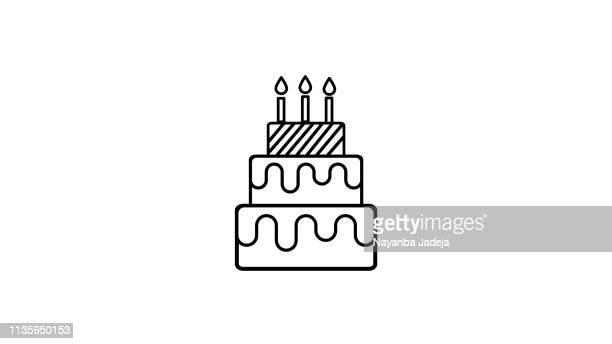 cake line icon - birthday stock illustrations