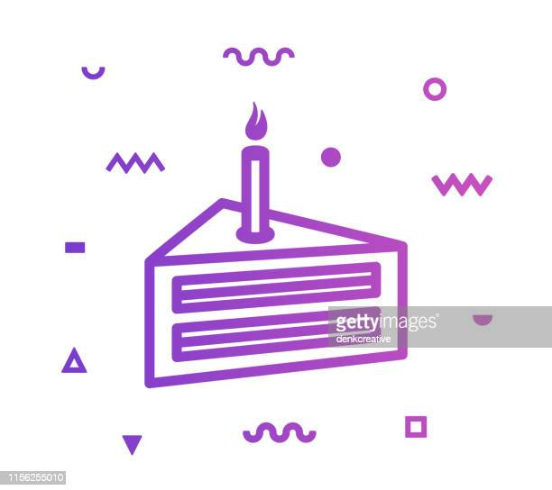 cake line style icon design - happy birthday banner stock illustrations