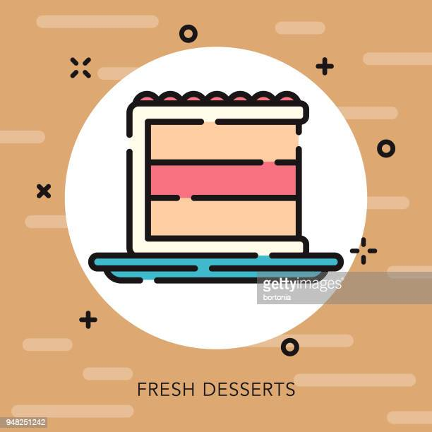 cake open outline coffee & tea icon - dessert topping stock illustrations, clip art, cartoons, & icons