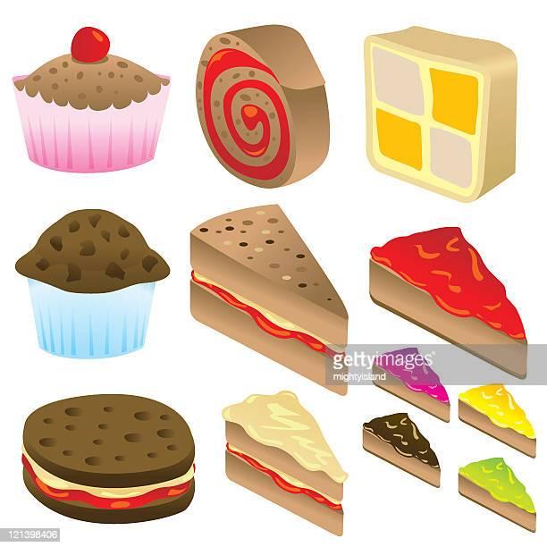 cake selection - battenburg stock illustrations
