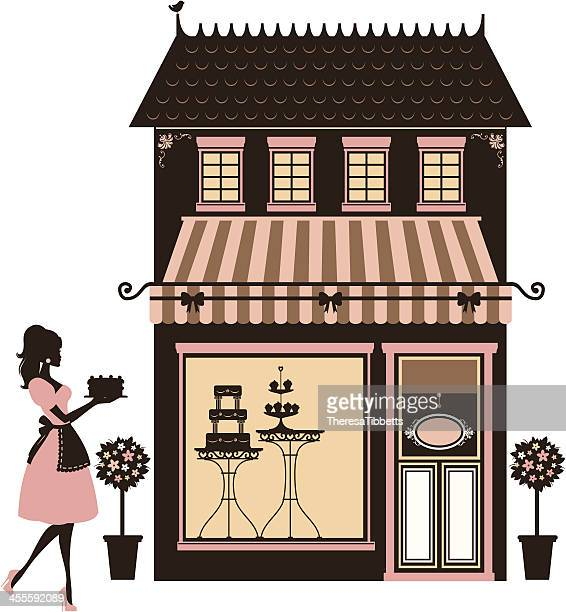 cake shop and baker - making a cake stock illustrations, clip art, cartoons, & icons