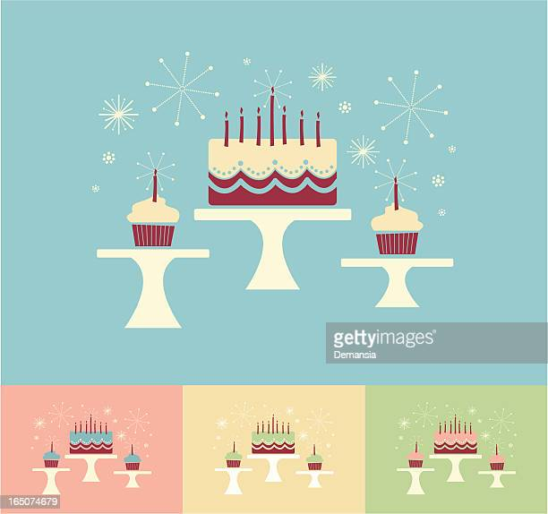 cake stands - birthday cake stock illustrations, clip art, cartoons, & icons