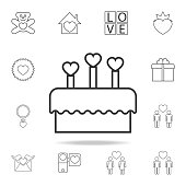 cake with candles in the form of hearts icon. Set of Love element icons. Premium quality graphic design. Signs, outline symbols collection icon for websites, web design, mobile app