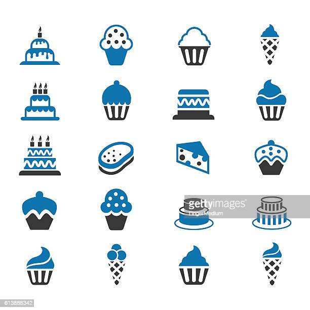 cakes and cupcakes icon set - icing stock illustrations