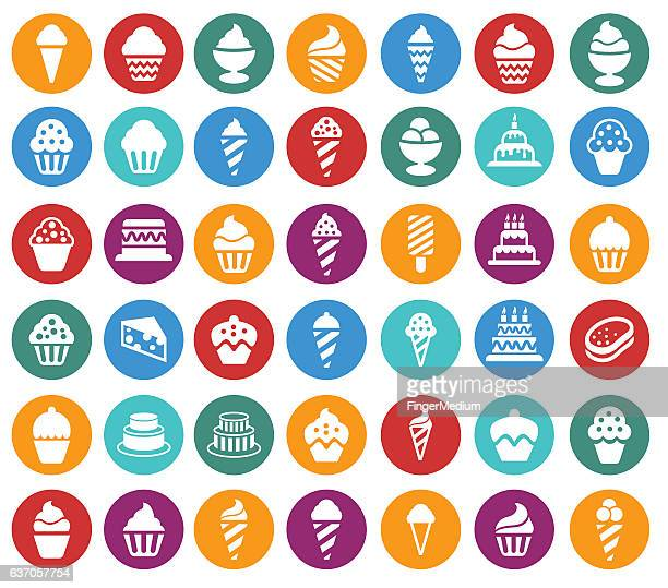 cakes and cupcakes icon set - glazed food stock illustrations, clip art, cartoons, & icons