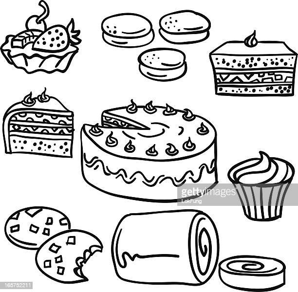 cakes collection in black and white - macaroon stock illustrations, clip art, cartoons, & icons